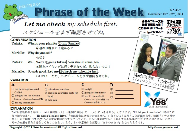 let me check my schedule first 英語が大好きになる サイエイ